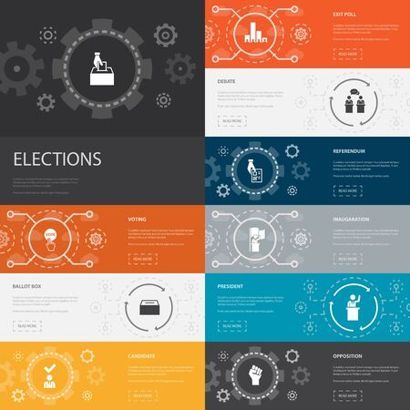 Elections Infographic 10 line icons banners. Voting, Ballot box, Candidate, Exit poll simple icons Illustration