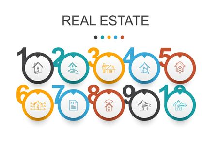 Real Estate Infographic design template.Property, Realtor, location, Property for sale simple icons 向量圖像