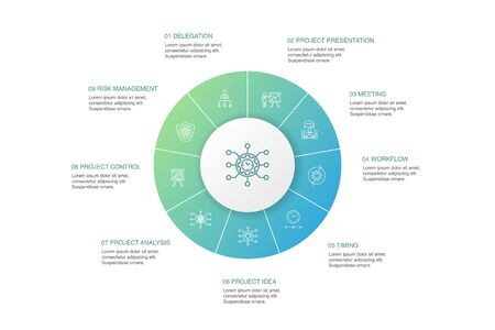 Project management Infographic 10 steps circle design.Project presentation, Meeting, workflow, Risk management simple icons Illustration