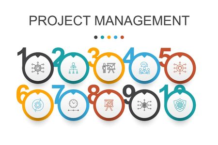 Project management Infographic design template.Project presentation, Meeting, workflow, Risk management simple icons Illustration