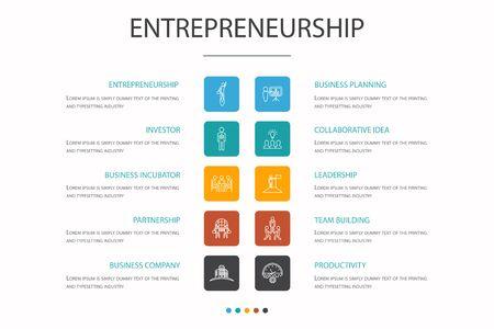 Entrepreneurship Infographic 10 option concept. Investor, Partnership, Leadership, Team building simple icons Vetores