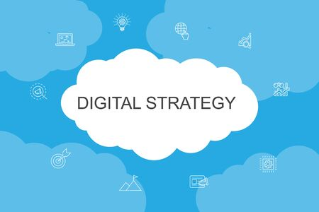 digital strategy Infographic cloud design template. internet, SEO, content marketing, mission simple icons 일러스트