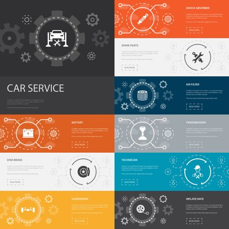 Car service Infographic 10 line icons banners. disk brake, suspension, spare parts, Transmission simple icons