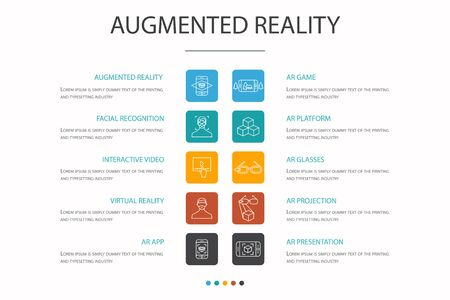 Augmented reality Infographic 10 option concept. Facial Recognition, AR app, AR game, Virtual Reality simple icons
