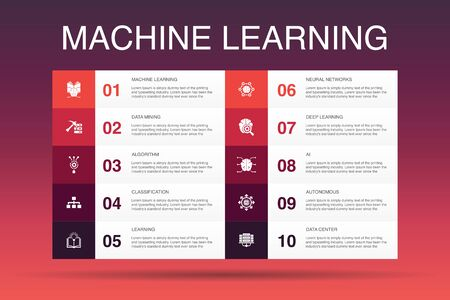 Machine learning Infographic 10 option template.data mining, algorithm, classification, AI icons