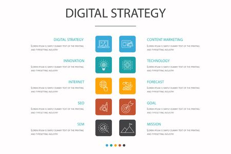 digital strategy Infographic 10 option concept. internet, SEO, content marketing, mission simple icons 일러스트