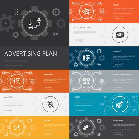 Advertising Plan Infographic 10 line icons banners. marketing, strategy, planning, target simple icons