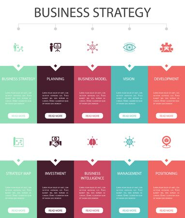 Business strategy Infographic 10 option UI design.planning, business model, vision, development simple icons