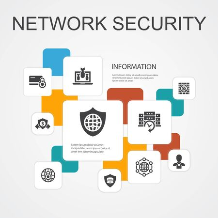 network security Infographic 10 line icons template.private network, online privacy, backup system, data protection simple icons