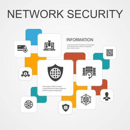 seguridad de red infografía plantilla de iconos de línea 10 red privada, privacidad en línea, sistema de copia de seguridad, protección de datos iconos simples
