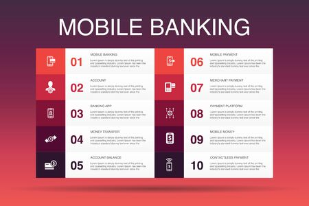 Mobile banking Infographic 10 option template.account, banking app, money transfer, Mobile payment icons