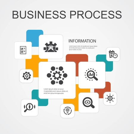 Business process Infographic 10 line icons template.implement, analyze, development, Processing simple icons