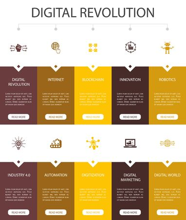 digital revolution Infographic 10 option UI design.internet, blockchain, innovation, industry 4.0 simple icons Vettoriali