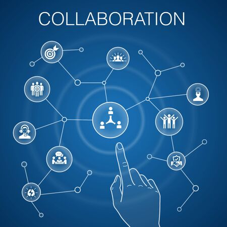 collaboration concept blue background teamwork, support, communication, motivation icons 일러스트
