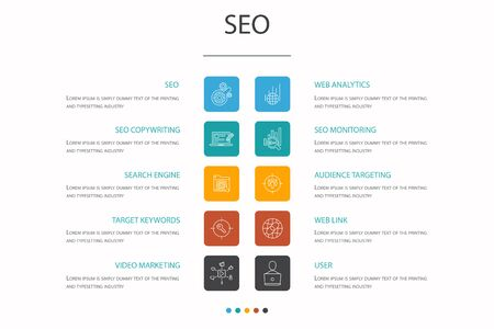 SEO Infographic 10 option concept. Search engine, Target keywords, Web analytics, SEO monitoring simple icons 向量圖像