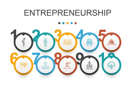Entrepreneurship Infographic design template.Investor, Partnership, Leadership, Team building simple icons Illustration