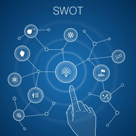SWOT concept, blue background.Strength, weakness, opportunity, threat icons 일러스트