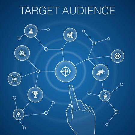 target audience concept, blue background.consumer, demographics, niche, promotion icons Çizim