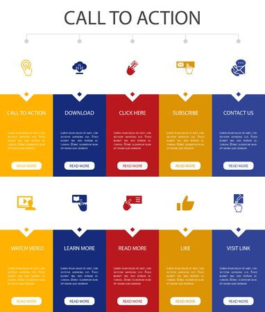 Call To Action Infographic 10 option UI design.download, click here, subscribe, contact us simple icons  イラスト・ベクター素材