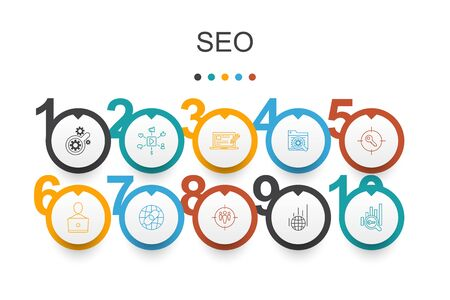 SEO Infographic design template.Search engine, Target keywords, Web analytics, SEO monitoring simple icons  イラスト・ベクター素材