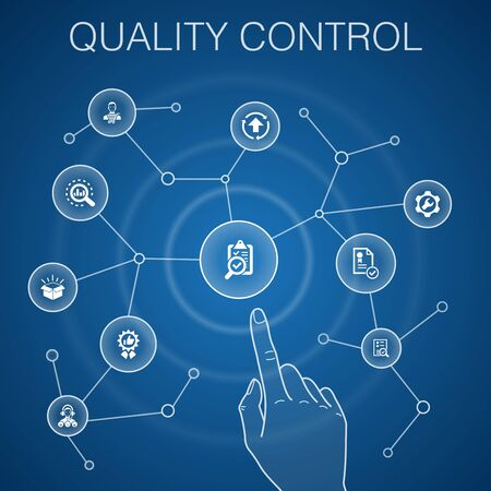 quality control concept, blue background.analysis, improvement, service level, excellent