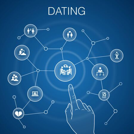 Dating concept, blue background.couple in love, fall in love, dating app, relations simple icons