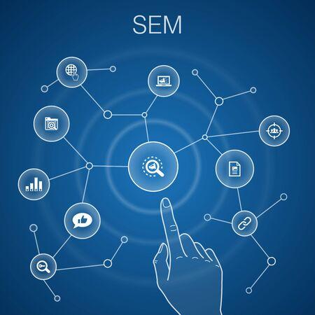 SEM concept, blue background.Search engine, Digital marketing, Content, Internet icons