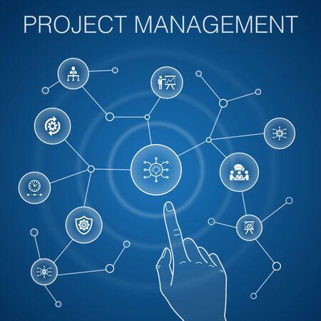 Concept de gestion de projet, fond bleu. Présentation du projet, réunion, flux de travail, icônes de gestion des risques Vecteurs