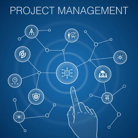 Project management concept, blue background.Project presentation, Meeting, workflow, Risk management icons