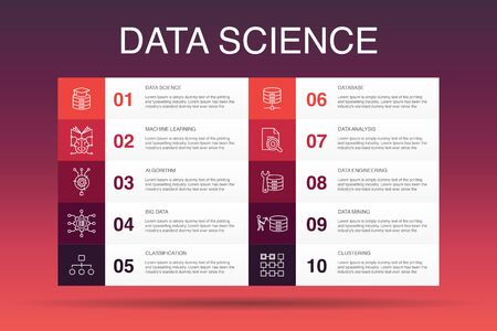 Data science Infographic 10 option template. machine learning, Big Data, Database, Classification simple icons Vetores