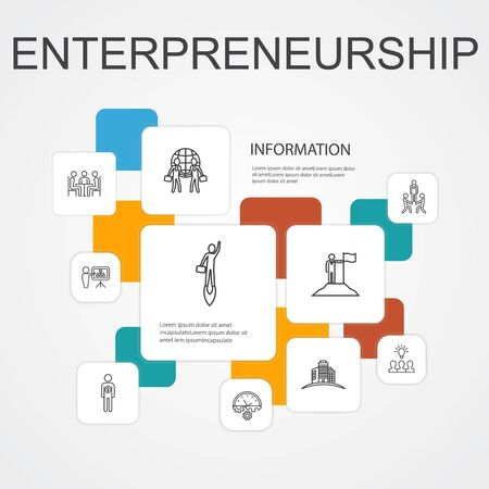 Entrepreneurship Infographic 10 line icons template.Investor, Partnership, Leadership, Team building icons Illustration