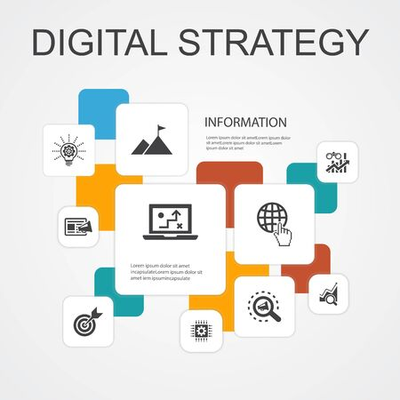 digital strategy Infographic 10 line icons template.internet, SEO, content marketing, mission simple icons