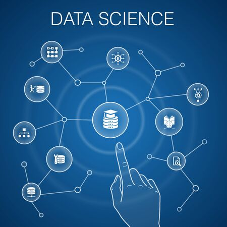 Data Science concept, blue background.machine learning, Big Data, Database, Classification simple icons