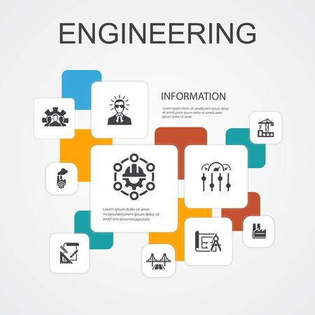 engineering Infographic 10 line icons template. design, professional, System Control, Infrastructure simple icons  イラスト・ベクター素材
