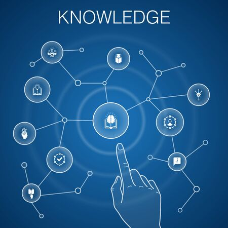 knowledge concept, blue background. subject, education, information, icons
