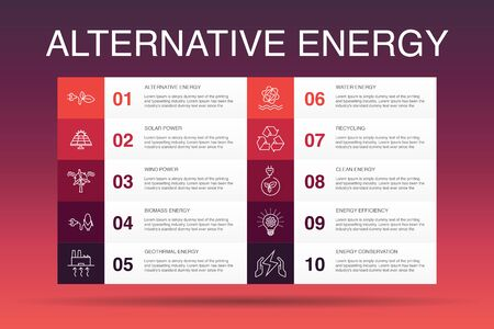 Alternative energy Infographic 10 option template. Solar Power, Wind Power, Geothermal Energy, Recycling simple icons