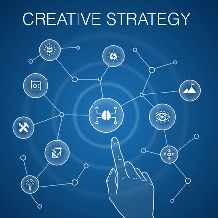 Creative Strategy concept, blue background.vision, brainstorm, collaboration, project simple icons