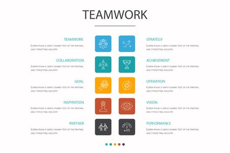 Teamwork Infographic 10 option concept. collaboration, goal, strategy, performance simple icons