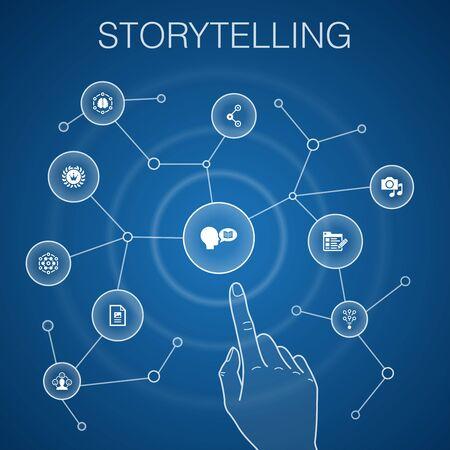 storytelling concept, blue background.content, viral, blog, emotion icons Ilustração