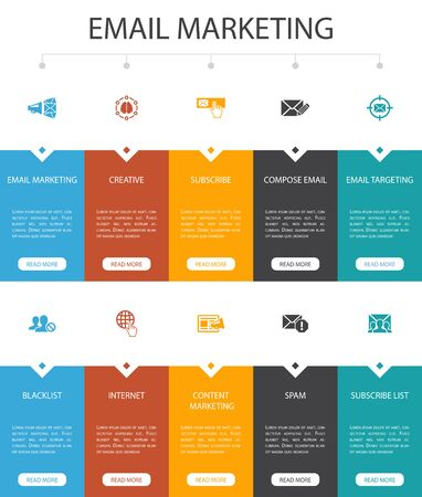 Email Marketing Infographic 10 option UI design.subscribe, compose mail, Blacklist, internet simple icons