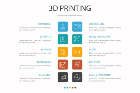 3d printing Infographic 10 option concept. 3d printer, filament, prototyping, model preparation simple icons