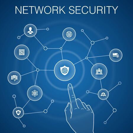 network security concept, blue background.private network, online privacy, backup system, data protection icons