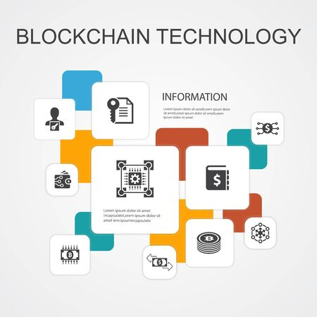 blockchain technology Infographic 10 line icons template.cryptocurrency, digital currency, smart contract, transaction simple icons