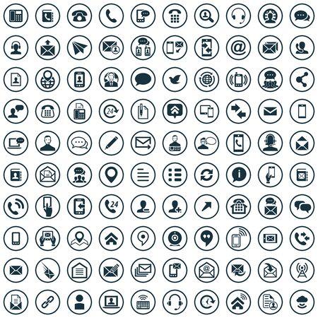 contáctenos 100 iconos universales para web y UI.