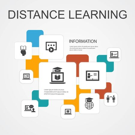 Distance Learning Infographic 10 line icons template.online education, webinar, learning process, video course simple icons  イラスト・ベクター素材