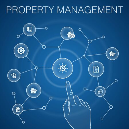 property management concept, blue background.leasing, mortgage, security deposit, accounting icons