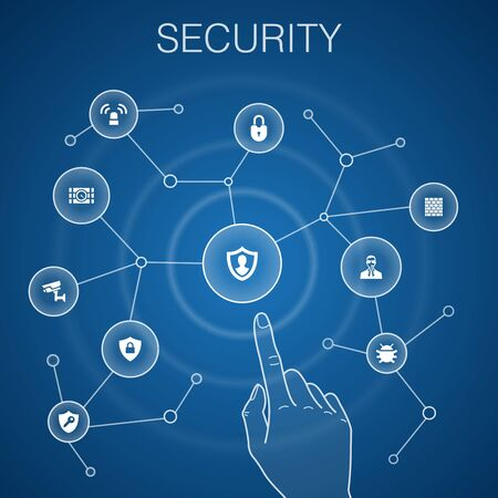 Security concept, blue background. protection, security camera, key, bomb icons  イラスト・ベクター素材