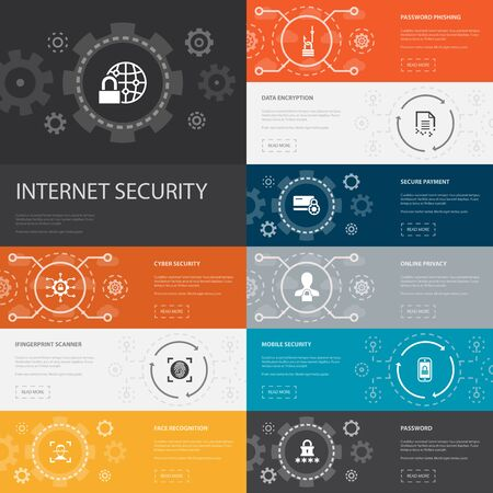 Internet Security Infographic 10 line icons banners. cyber security, fingerprint scanner, data encryption, password simple icons