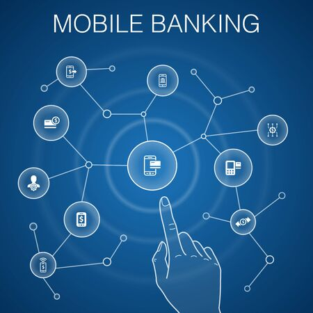Mobile banking concept, blue background.account, banking app, money transfer, Mobile payment icons Çizim