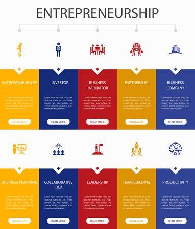 Entrepreneurship Infographic 10 option UI design.Investor, Partnership, Leadership, Team building simple icons 일러스트